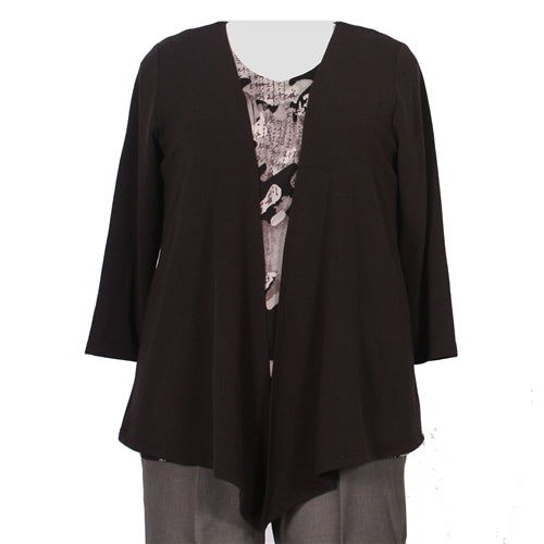 Black Drape Cardigan Sweater Women's Plus Size Cardigan
