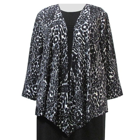 Grey Leopard Drape Cardigan Sweater Women's Plus Size Cardigan