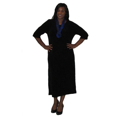 Black Round Neck 3/4 Sleeve Long Slinky Dress