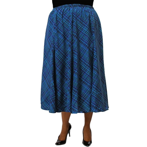 Diagonal Plaid Blue 8-Gore Plus Size Skirt