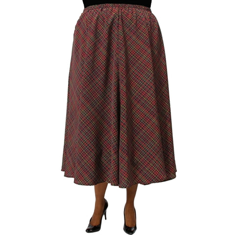 Diagonal Plaid Brown 8-Gore Plus Size Skirt