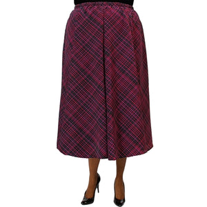 Diagonal Plaid Purple 8-Gore Plus Size Skirt