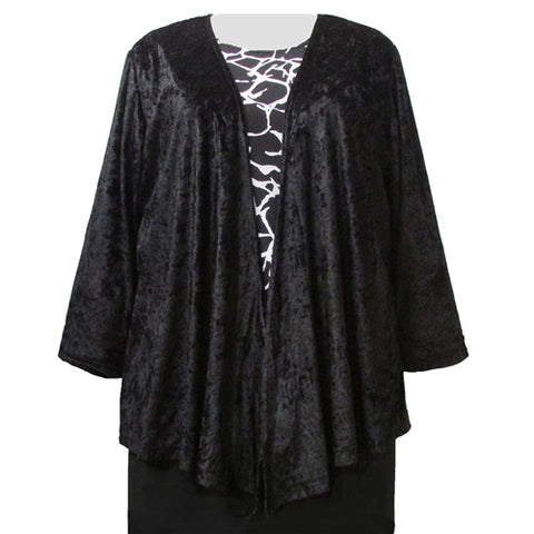 Black Crushed Panne Delicate Drape Women's Plus Size Cardigan