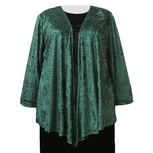Forest Green Crushed Panne Delicate Drape Women's Plus Size Cardigan