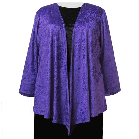 Purple Crushed Panne Delicate Drape Women's Plus Size Cardigan