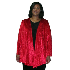 Red Crushed Panne Delicate Drape Women's Plus Size Cardigan