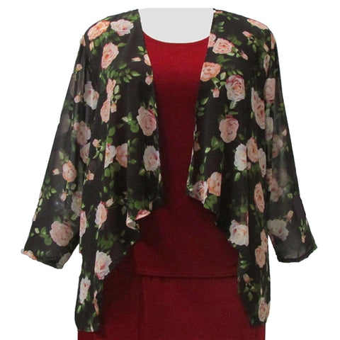 Antique Roses Open Front Cardigan Women's Plus Size Cardigan