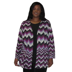 Purple Chevron Cardigan Sweater Women's Plus Size Cardigan