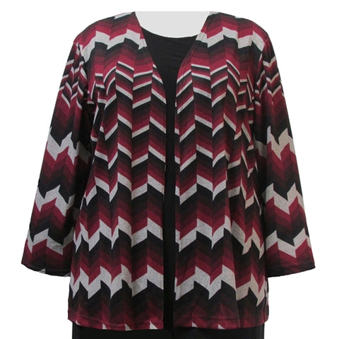 Wine Chevron Cardigan Sweater Women's Plus Size Cardigan