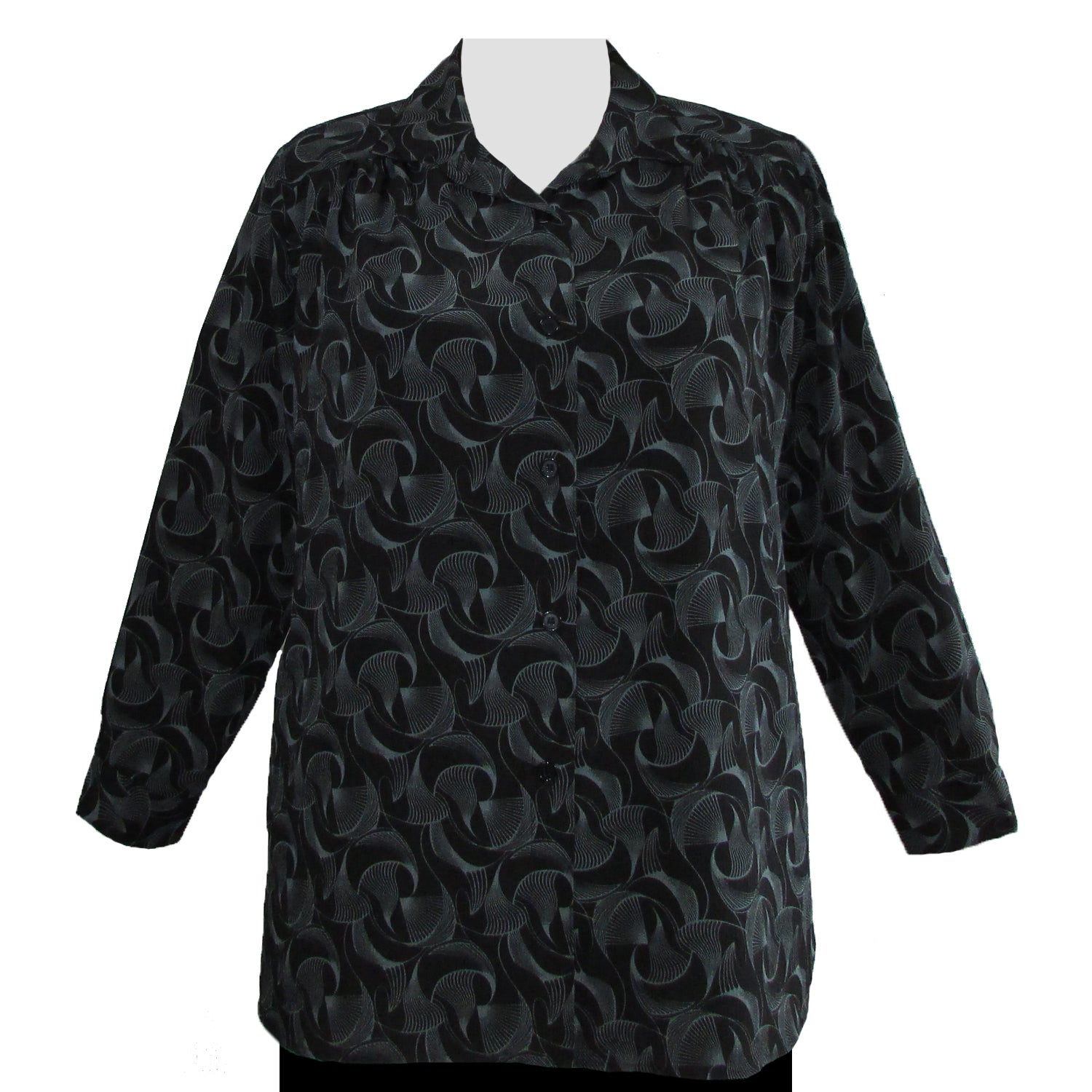 Long Sleeve Button-Front Tunic with Shirring