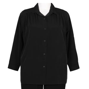 Black Long Sleeve tunic w/shirring Women's Plus Size Blouse