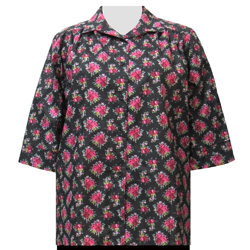 Black Really Rosy 3/4 sleeve tunic with shirring Women's Plus Size Blouse