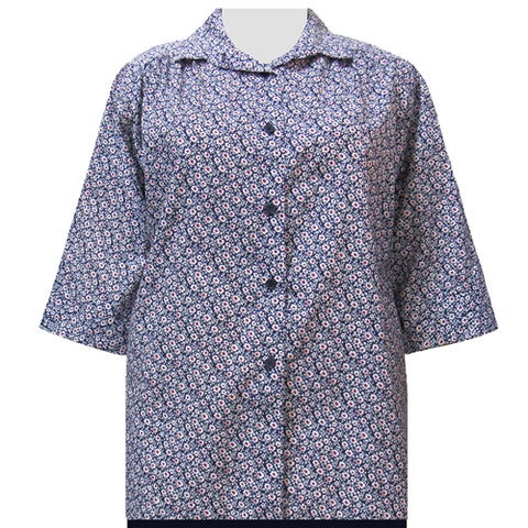 Blue Flirty 3/4 sleeve tunic with shirring Women's Plus Size Blouse