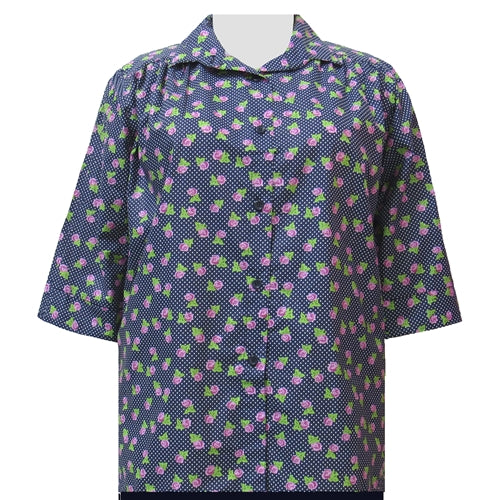 Navy Dotty Roses 3/4 sleeve tunic with shirring Women's Plus Size Blouse