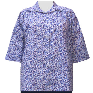 Purple Cute Calico 3/4 sleeve tunic with shirring Women's Plus Size Blouse