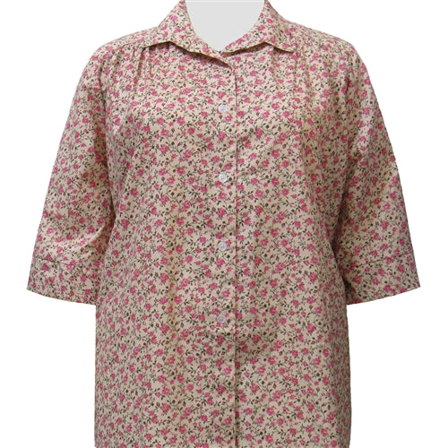 Romantic Garden 3/4 sleeve tunic with shirring Women's Plus Size Blouse