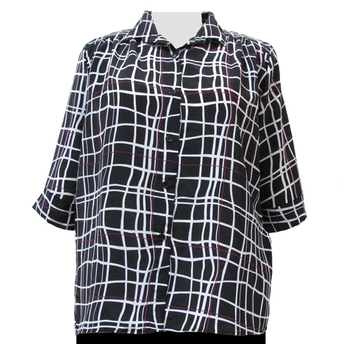 Black Windowpane 3/4 sleeve tunic with shirring Women's Plus Size Blouse