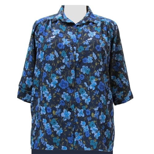 Blue Happy Days 3/4 sleeve tunic with shirring Women's Plus Size Blouse