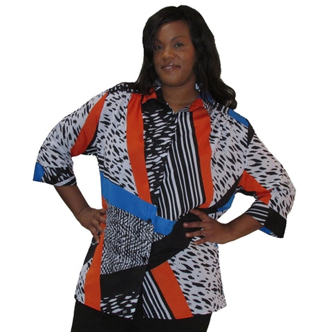 Black/White & Orange Skin 3/4 sleeve tunic with shirring Women's Plus Size Blouse