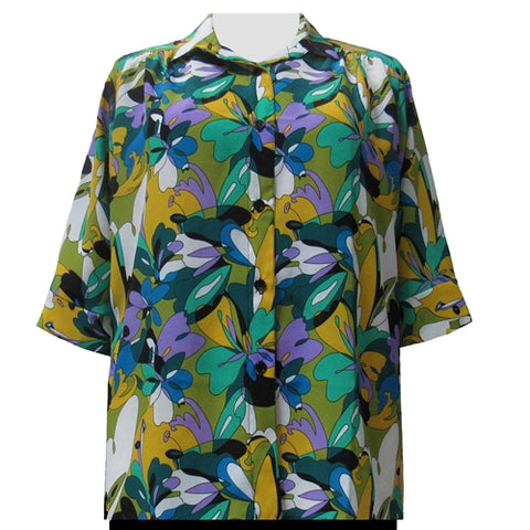 Emme 3/4 sleeve tunic with shirring Women's Plus Size Blouse