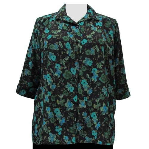 Green Happy Days 3/4 sleeve tunic with shirring Women's Plus Size Blouse