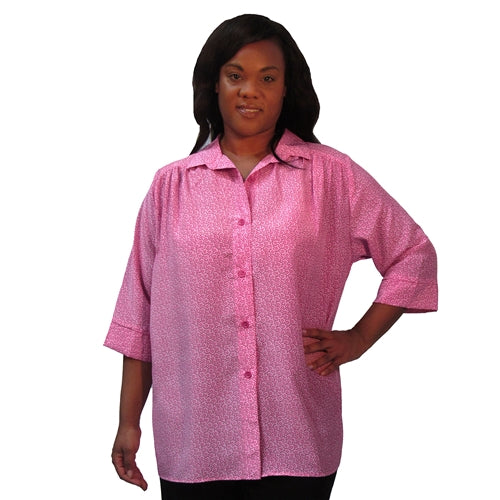 Pink Daisy 3/4 sleeve tunic with shirring Women's Plus Size Blouse