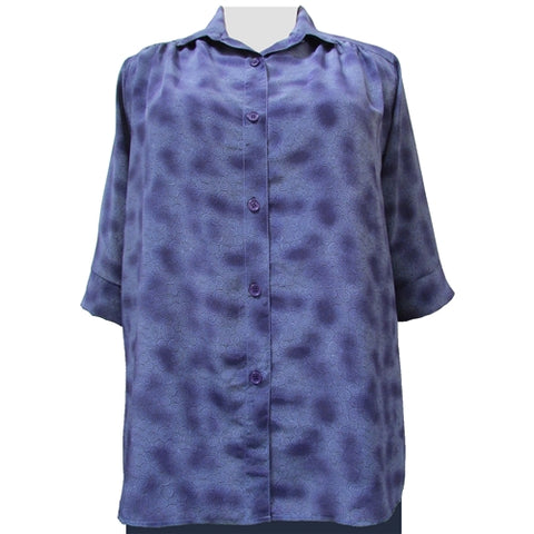 Purple Coils 3/4 sleeve tunic with shirring Women's Plus Size Blouse