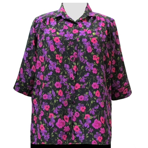 Purple Happy Days 3/4 sleeve tunic with shirring Women's Plus Size Blouse