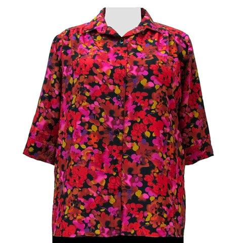 Red Marigolds 3/4 sleeve tunic with shirring Women's Plus Size Blouse