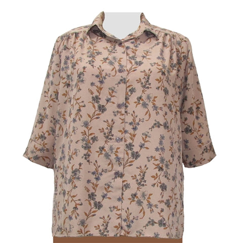 Tan Serena 3/4 sleeve tunic with shirring Women's Plus Size Blouse