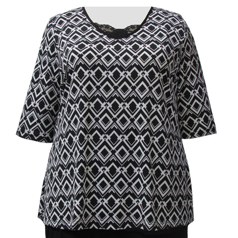 Black & White Diamond Links 3/4 Sleeve Pullover Top Women's Plus Size Top