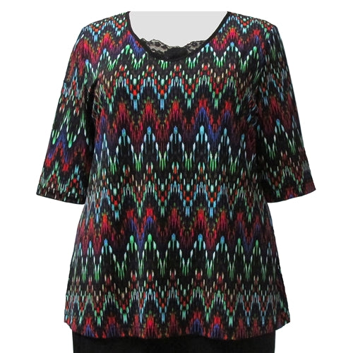 Multi Chevron 3/4 Sleeve Pullover Top Women's Plus Size Top