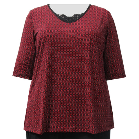 Red Dobbi 3/4 Sleeve Pullover Top Women's Plus Size Top