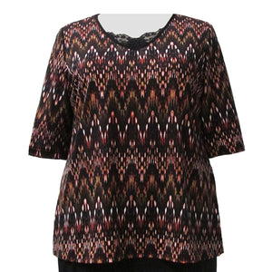 Terra Cotta Chevron 3/4 Sleeve Pullover Top Women's Plus Size Top
