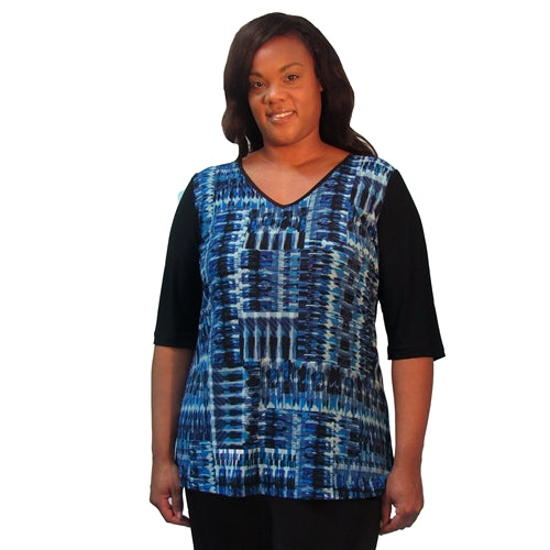 Cobalt Lattice 3/4 Sleeve V-Neck Pullover Top Women's Plus Size Top