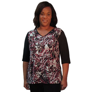 Crimson Abstract 3/4 Sleeve V-Neck Pullover Top Women's Plus Size Top
