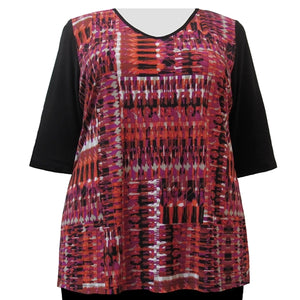 Fuchsia Lattice 3/4 Sleeve V-Neck Pullover Top Women's Plus Size Top