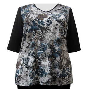 Platinum Floral 3/4 Sleeve V-Neck Pullover Top Women's Plus Size Top
