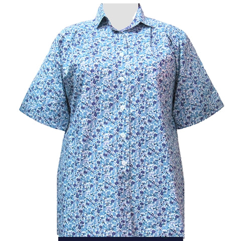 Aqua Cute Calico Short Sleeve Tunic Women's Plus Size Blouse