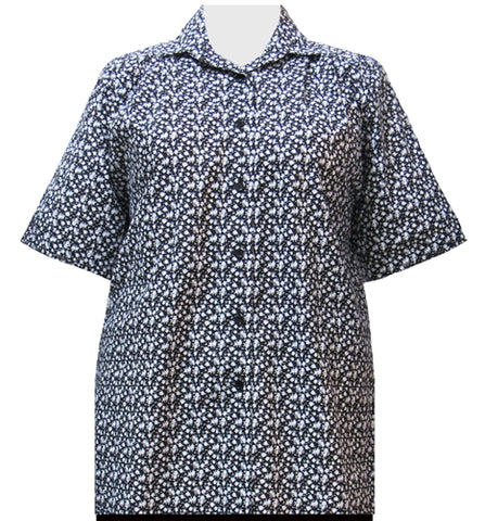Black Ditsy Short Sleeve Tunic Women's Plus Size Blouse