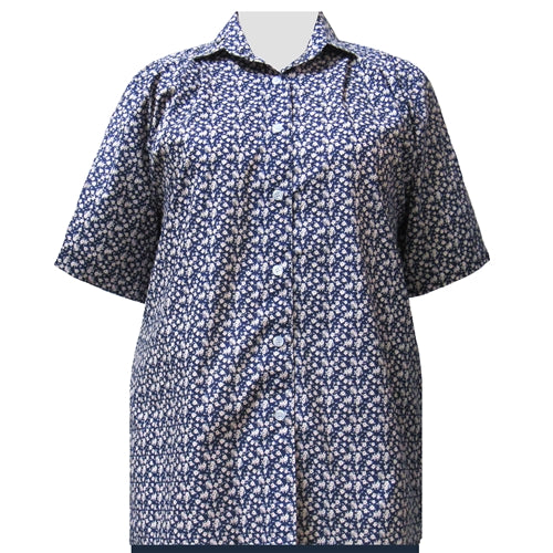 Blue Ditsy Short Sleeve Tunic Women's Plus Size Blouse