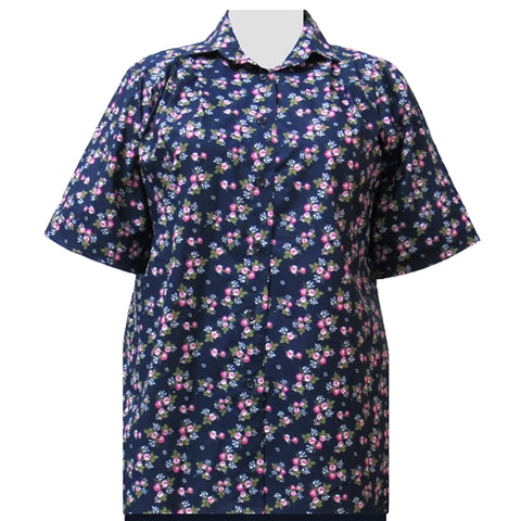 Navy Bouquet Short Sleeve Tunic Women's Plus Size Blouse