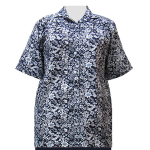 Navy Field Of Dreams Short Sleeve Tunic Women's Plus Size Blouse