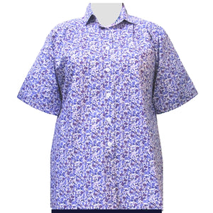 Purple Cute Calico Short Sleeve Tunic Women's Plus Size Blouse