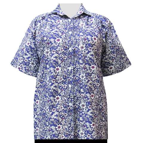 Purple Field Of Dreams Short Sleeve Tunic Women's Plus Size Blouse
