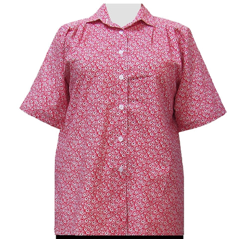Red Flirty Short Sleeve Tunic Women's Plus Size Blouse