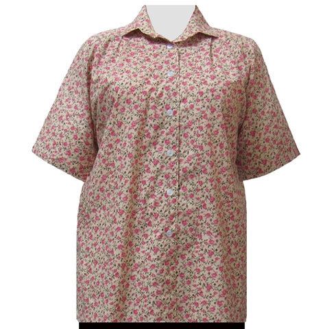 Romantic Garden Short Sleeve Tunic Women's Plus Size Blouse