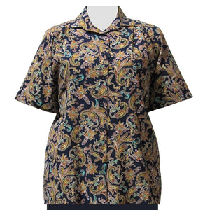 Blue & Gold Paisley Design Short Sleeve Tunic Women's Plus Size Blouse