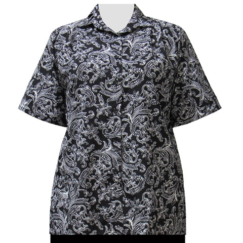 Black & White Paisley Design Short Sleeve Tunic Women's Plus Size Blouse