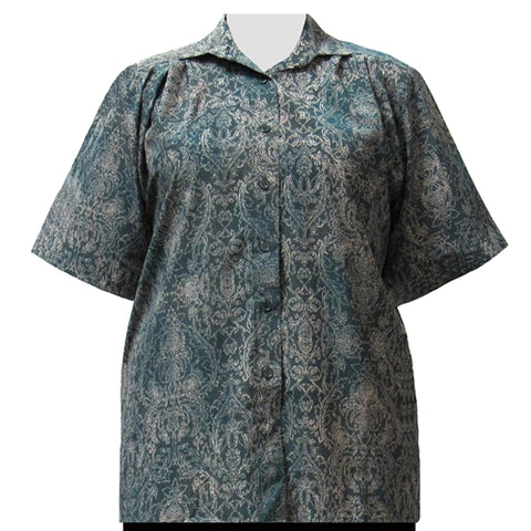 Hunter Paisley Garden Short Sleeve Tunic Women's Plus Size Blouse